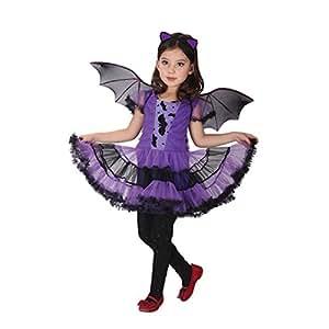 Amurleopard Deguisement Enfant Costume Halloween Fille Sorciere ailles de chauve-souris pourpre XL