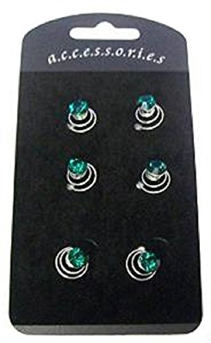 Set di 6scintillante pietra verde strass argento fermagli per capelli con spirale Coil Swirl Twists Pins