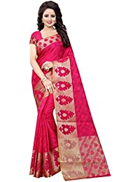 FAB BRAND WOMEN'S ETHNIC WEAR COTTON SILK RANI COLOUR SAREE WITH BLOUSE PIECE