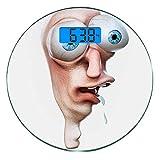 Pèse-personne numérique de précision Ronde Humour Dimensions précises de poids de la balance de salle de bains en verre trempé ultra mince,Stupid Derp Visage Humain Web Comics Personnage Dessin Simple
