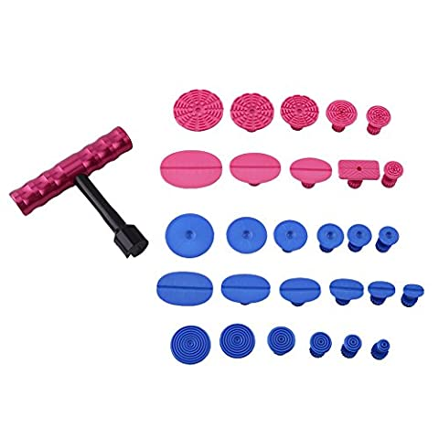 Paintless Dent Repair Tools T-Bar Hand Puller With Blue And Red Puller Tabs Pack Of 29 Glue Pulling PDR Tools Hail Damage Repair Ding