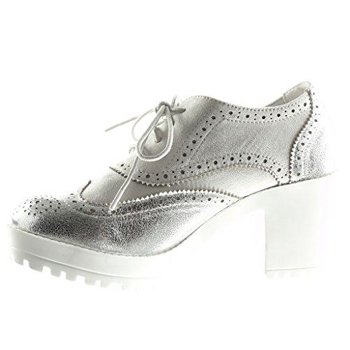 Angkorly Chaussure Mode Richelieu plateforme femme perforée brillant Talon compensé plateforme 7.5 CM Argent