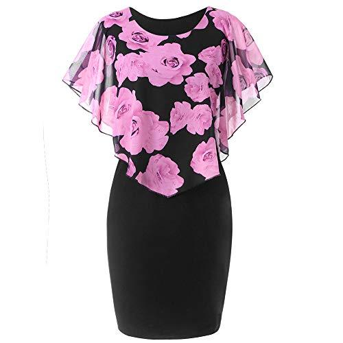 feiXIANG Damen Kleider Rüschenärmel Vintage Sommerkleid Womens Große Größe Chiffon O-Neck Casual Bleistiftrock Minikleid(A/Rosa,M)