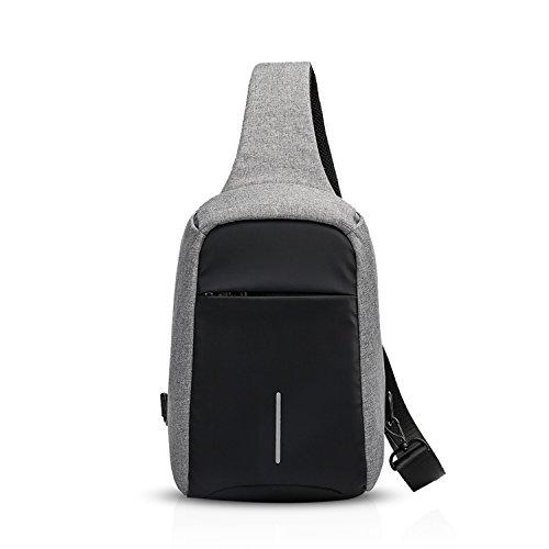 FANDARE Sling Bag Rucksack Umhängetasche Brusttasche Messenger Bag Hiking Bag Daypack Crossbody Bag Schultertasche Anti Diebstahl Polyester Grau
