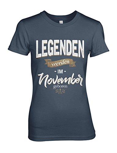 Legenden Werden Im November Geboren Geburtstag Geschenk Damen T-Shirt Marineblau Medium (T-shirt Fitted Baby-womens)