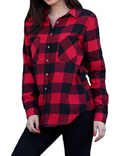 ACHIOOWA Hemd Kariert Damen Langarm Oversize Hemd Button Down Longshirt Cardigan Top A23893-rot L