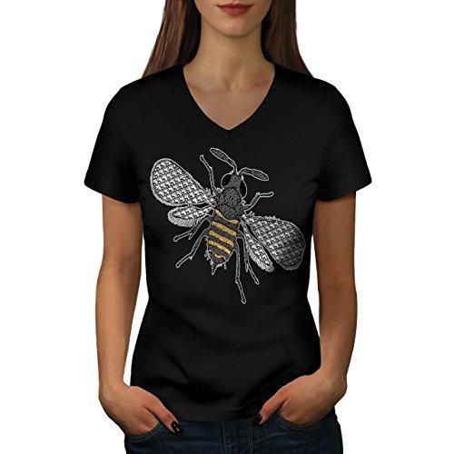 insecte-monde-art-plusieurs-abeille-femme-nouveau-noir-l-t-shirt-wellcoda