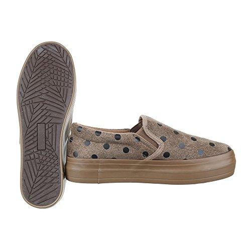 Slipper Damen Schuhe Low-Top Bequeme Ital-Design Halbschuhe Hellbraun