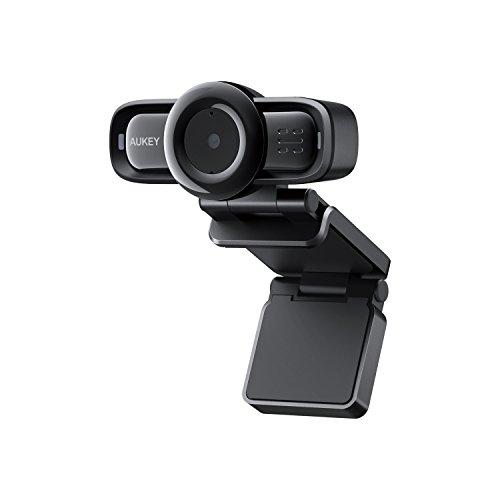 AUKEY Webcam 1080p Full HD mit Autofokus und Geräuschreduzierung-Mikrofone PC Kamera für Video Chat und Aufnahme, Kompatibel mit Windows, Mac und Android -