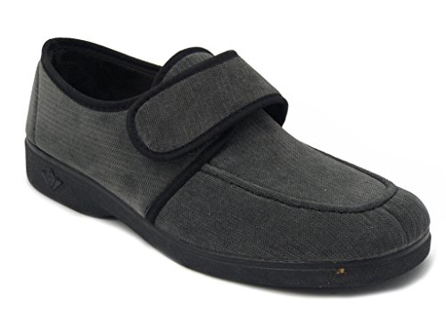 Pregunta pantofola uomo, in morbido tessuto colore grigio, foderato in alcantara, suola in gomma flessibile e antiscivolo, IEBT3149 i16