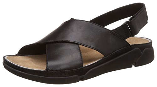 Clarks Tri Alexia, Damen Sandalen, Schwarz (Black Leather), 39.5 EU (6 Damen UK)