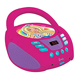 Lexibook RCD108BB Barbie, Mattel-Reproductor Radio CD, Altavoz portatil, Toma Micro y Aux-in, Color Rosa