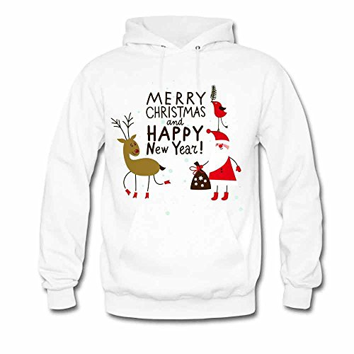 Womens Hoodies Reindeer and Santa Merry Christmas and Happy New Year Sweatshirts S