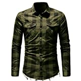 YunYoud Männer Slim Fit Button Kariertes Hemd mit Tasche Langarmshirts Bluse slim fit hemden herren kurzarm dunkelgrünes hemd online shop weißes kurzarmhemd umschlagmanschette