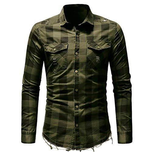 YunYoud Männer Slim Fit Button Kariertes Hemd mit Tasche Langarmshirts Bluse slim fit hemden herren kurzarm dunkelgrünes hemd online shop weißes kurzarmhemd umschlagmanschette -