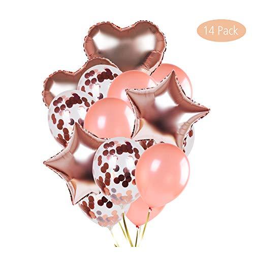 Effe 14 pezzi palloncini in lattice palloncini coriandoli set di bianchi e rosa palloncini matrimonio palloncini compleanno decorazioni per feste, baby shower festa di natale, cerimonia