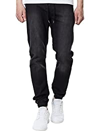 Urban Classics Herren Jeans Knitted Denim Jogpants - Herrenjeans mit Stretchbund, Kordelzug und elastischem Beinabschluss