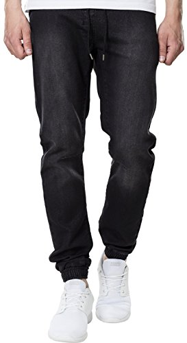 Urban Classics Herren Jeans Knitted Denim Jogpants - Herrenjeans mit Stretchbund, Kordelzug und elastischem Beinabschluss - Farbe black washed, Größe L