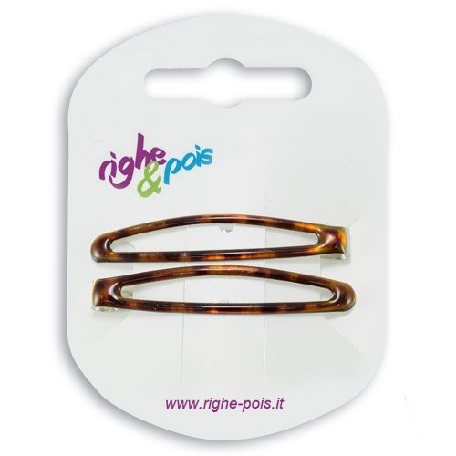 K105 003 – Pinces pour Cheveux – Pinces clic clac cm 5 en métal revêtement Tortue Lot de 2 pièces