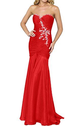 Gorgeous Bride Hochwertig Traegerlos Meerjungfrau Chiffon Lang Abendkleider Ballkleider Festkleider Rot
