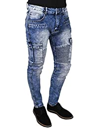 Evoga Jeans Uomo Cargo Denim Pantalone Slim Fit Elasticizzato con Tasche  Laterali 09c1f254e6c1