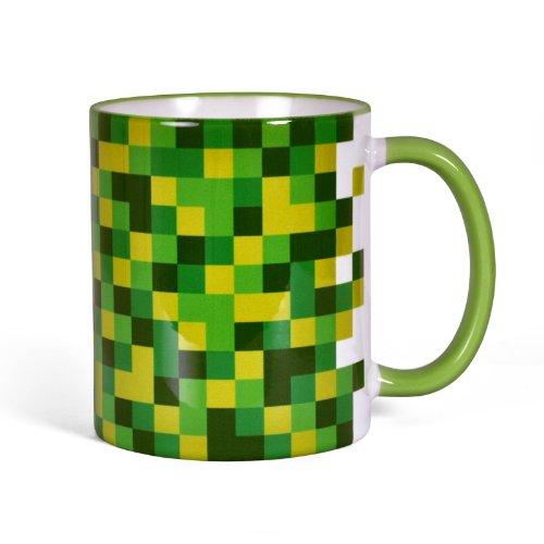 Gamer-fan (Pixel Tasse für Gamer Fans rundum bedruckt farbiger Henkel 300ml Block Würfel)
