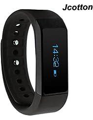 Jcotton Smart Watch IP67 étanche intelligent Smart Bracelet Bluetooth 4.0 Fitness tenus activité Tracker Bracelet Sport Santé podomètre fitness ajouter couchage Monitor Seden militaire souvenir Wrist Band Compatible avec Android IOS Smartphone