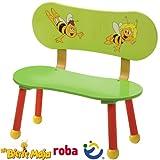 Kinderbank Biene Maja Druck auf der Rückenlehne, 55 x 58 x 32cm: Bank Kindermöbel Sitzbank Kinder Zimmer Holzbank