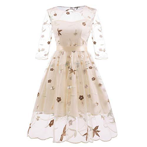 JiaMeng Damen Große Größe Vintage Kleid Spitze handgemachte Stickerei Retro Flauschigen Kleid Princess Floral Lace Cocktail O-Neck Party Aline Swing Dress