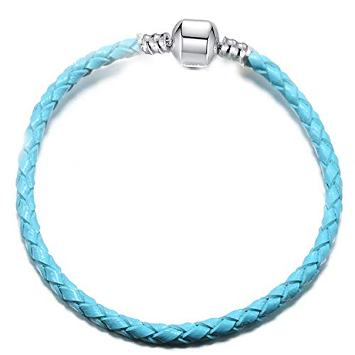 Armband Armreif,Schmuck Geschenk, Dropshipping 9 Colors Leather Chain Charm Bracelets with DIY Fine Bracelet for Women Girls Jewelry Gift Blue 20cm