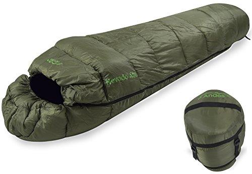 Andes Nevado 400 XL - Mumien-Schlafsack für 4 Jahreszeiten - Olivgrün