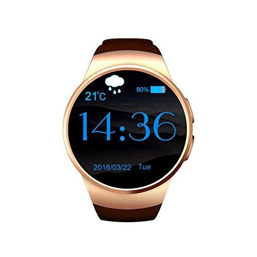 HAIT Smart Watch Steckbare Sim-Karte Herzfrequenz-Überwachung 1,3-Zoll-Runde Zifferblatt Bluetooth-Verschleiß Magnetische Adsorption-Schnittstelle,Gold (Gold Runde Schaltfläche)