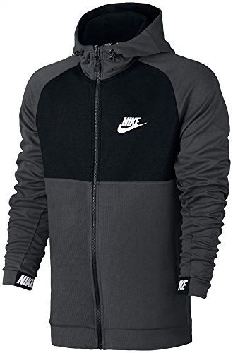Nike Herren Sportswear Advance 15 Fleece Langarm Oberteil mit Kapuze Full-Zip Grau (Charcoal Heather/Black)