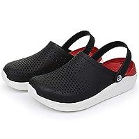 LSWL Women's Summer Sandals For Beach Sports Women Men's Slip-on Shoes Slippers Female Male Croc Clogs Crocks Crocse (Color : Black red, Shoe Size : 36)
