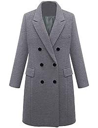 Manteau en Laine à Manches Longues Double Boutonnage pour Femmes Vestes  Trench Coat Hiver Chaud Jacket 9ece6bfd8784