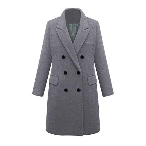 AMUSTER Damen Winter Revers Wollmantel Trench Jacke Parka Mantel Outwear Frauen Lange Mantel Trenchcoat Übergangsjacke Faux Wollmantel Parka Coat Outwear