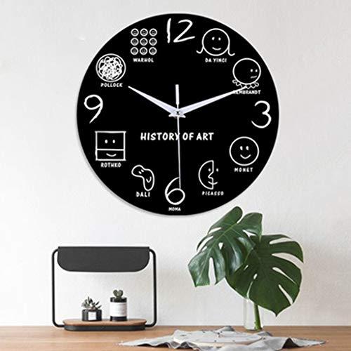 Webla -Orologio da parete digitale con espressione decorativa modanatura acrilico 12 pollici, stile carino, adatto per soggiorno, decorazione domestica per bambini
