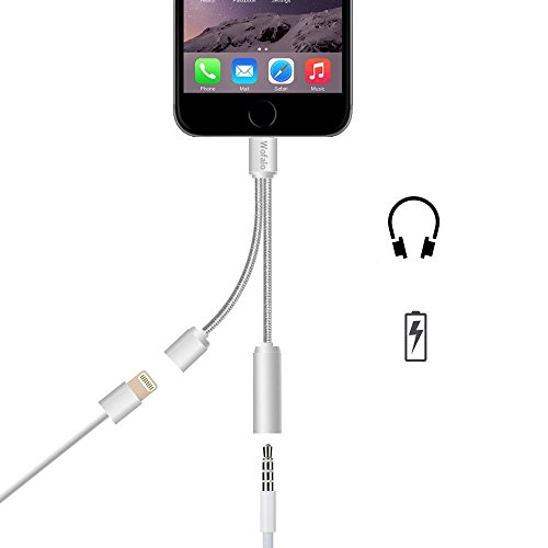 Wofalo Lightning Audio und Ladeadapter für iPhone 7/7 Plus - Audio + aufladen Doppelfunktion - Lightning auf 3,5 mm-Kopfhöreranschluss Adapter für Apple 7/7 Plus - Silber