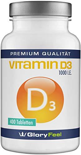 Vitamin D3 1000 IE Hochdosiert - 400 Vegane Vitamin-D Tabletten - Über 13 Monate Voll-Versorgung - Laborgeprüft ohne Magnesiumstearate und Zusätze hergestellt in Deutschland