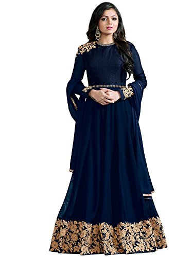 Multi Retail Women's Georgette Unstitched Salwar Suit With Dupatta(C702Dlniblha_Blue Free Size)