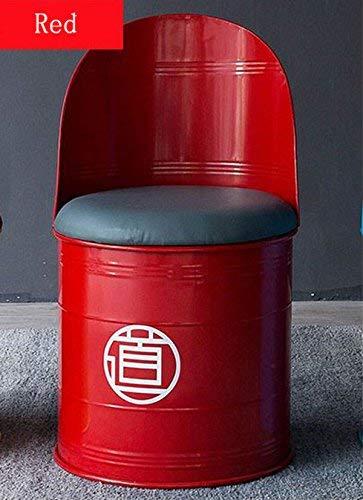Wood bench Hauptstuhl, Industrieöl-Fass-Bar-Stuhl, Schmiedeeisen-Retro- kreativer einfacher Rückenlehnen-Stuhl,rot