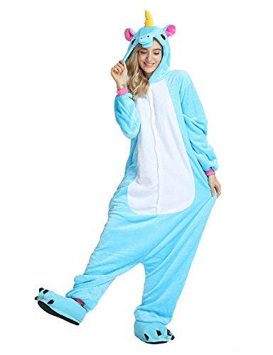 Très chic mailanda pigiama donna uomo animale cosplay animato costume camicie da notte carnevale halloween (xl per altezza 178-188cm, blu)