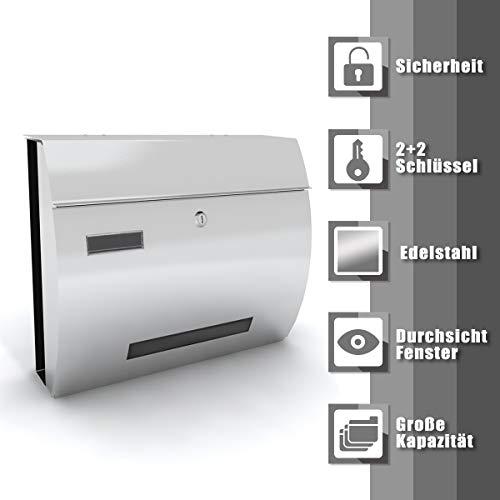 Deswell Design Edelstahl Briefkasten Wandbriefkästen Pulverbeschichtet mit Sichtfenstern, Namensschild, Abschließbar, Postkasten Mailbox Zeitung - Silber, 38cm x 13,5cm x 30,5cm