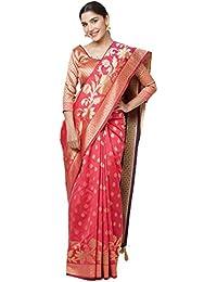 SareeShop Sarees Women's Pink Color Cotton Silk Jacquard Saree With Blouse # 591F9AC030E1D13B
