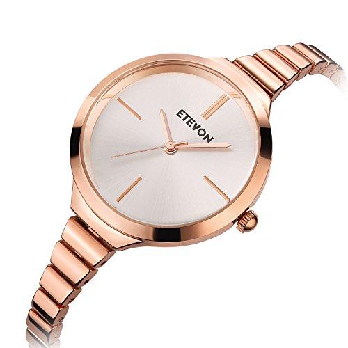 ETEVON Women's Quartz Rose Gold Armband Uhr mit High-End Edelstahl Case, elegante Luxus-Gold-Tone Kleid Handgelenk Uhren für Damen - 4