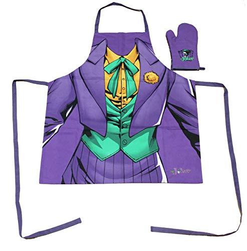 Batman DC Comics Delantal + Guante-The Joker-Lila-Traje-Logo
