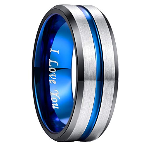 NUNCAD Ring Herren/Damen Gravur I Love You, Wolfram Unisex Ring 8mm Breit Fashion Schmuck Ring für Hochzeit, Verlobung, Größe 52 bis 72 (Wolfram Hochzeit Ring Männer)