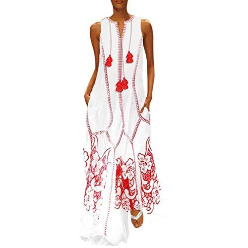 friendGG Damen Großes Kleid Retro Rockabilly Kleid Ärmellos Lose Maxikleider Fließende Longbluse Casual Leicht Sommerkleid Lässige Kleidung Abendkleid Frauenkleid Strand Swing Kleid (S-5XL)