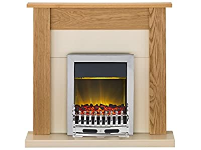 Adam Southwold Fireplace Suite in Oak with Blenheim Electric Fire in Chrome, 43 Inch