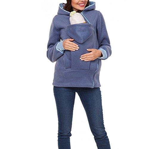 Lanmworn Femmes &BéBé Fermeture éClair Haut Maternité Hoodie Pour BéBé Porteuse, De Face Transporteur Titulaire Pull à Capuche Et Poche Sweat-shirt . Marron